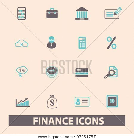 finance, bank, money, investment flat isolated icons, signs, illustrations set, vector