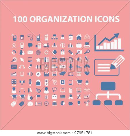 organization, system, business isolated flat icons, signs, illustrations, vector set