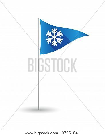 Golf Flag With A Snow Flake