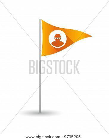 Golf Flag With A Thief