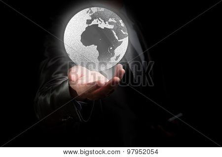 Businessman Working With Globalization Concept, Show Africa Continent