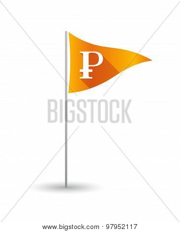 Golf Flag With A Ruble Sign