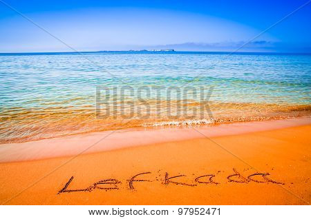 Lefkada Written On Sandy Beach In Greece.