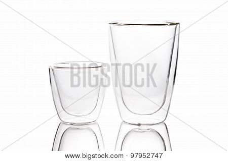Empty Clear Glass On White Background