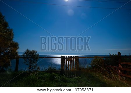 Old Wooden Gate At Night, Baikal Lake