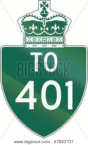 Ontario Highway Direction Shield 401
