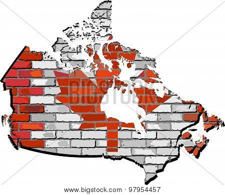 Canada map on a brick wall