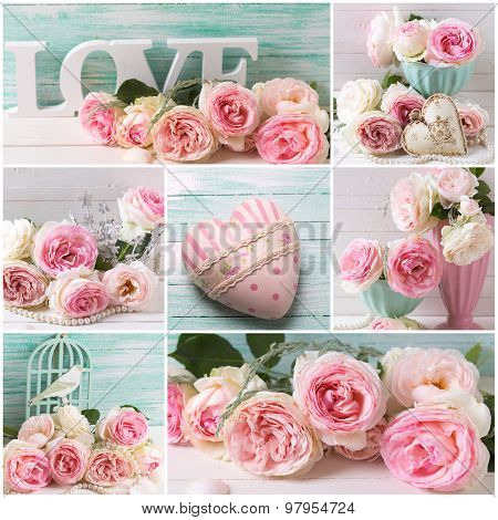 Collage With Romantic Roses And Heart