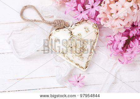 Fresh Pink  Hyacinths And Decorative Heart