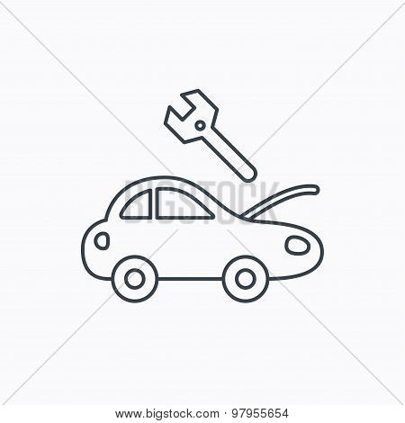 Car service icon. Transport repair sign.