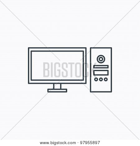 Computer PC icon. Widescreen display sign.