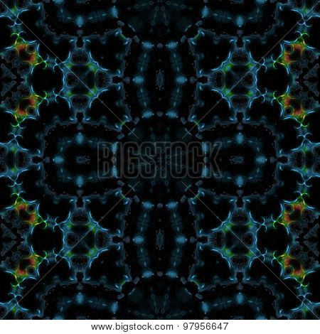 Abstract Blue Thorny Transparent Pattern Made Seamless