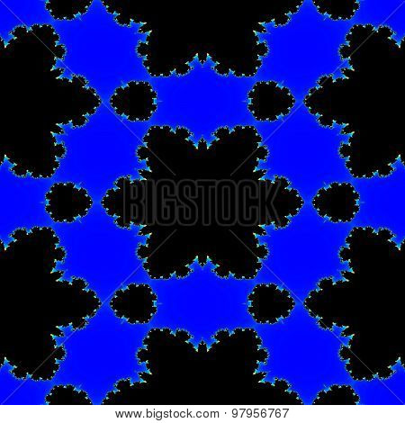 Seamless Abstract Fractal Black Stars On The Blue Background