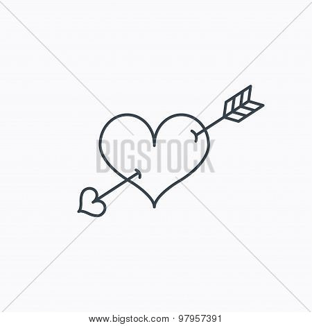 Love heart icon. Amour arrow sign.