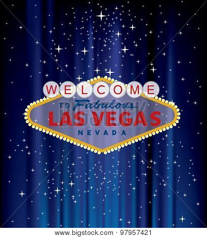 vector Las Vegas sign on blue velvet with stars
