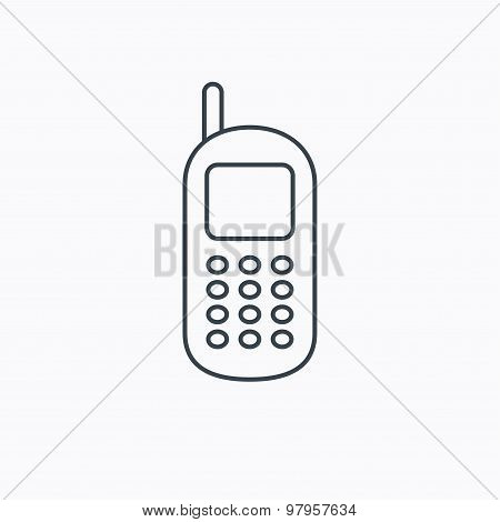 Mobile phone icon. Cellphone with antenna sign.