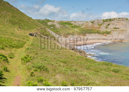 Wales coast path Fall Bay The Gower peninsula South Wales UK near to Rhossili beach and Mewslade