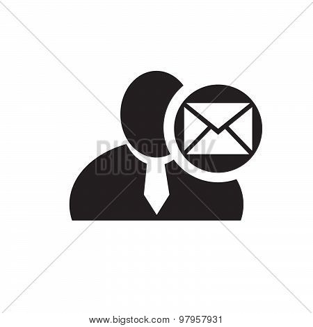 Black Man Silhouette Icon With Envelope Or Email Symbol In An Information Circle, Flat Design Icon F