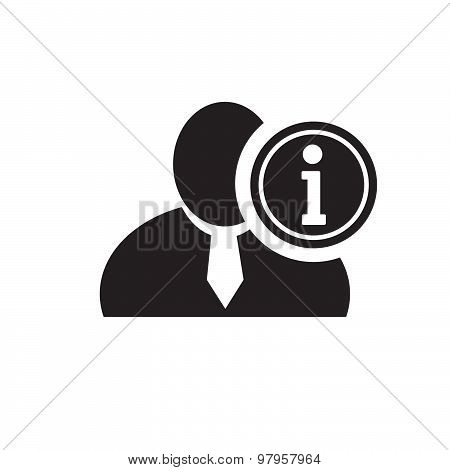 Black Man Silhouette Icon With Info Symbol In An Information Circle, Flat Design Icon For Forums Or
