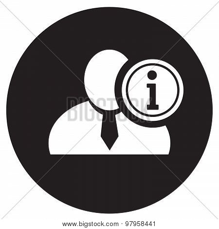 White Man Silhouette Icon With Info Symbol In An Information Circle, Flat Design Icon In Black Circl
