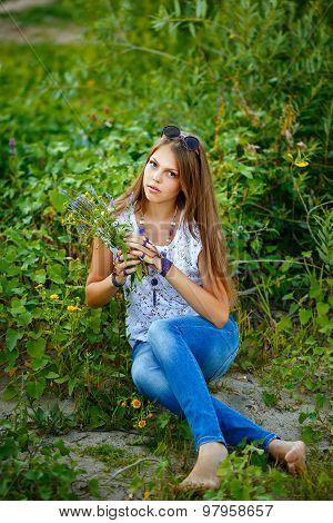Teen Girl Boho Barefoot.