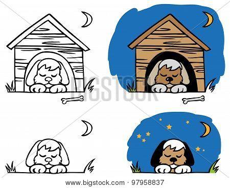 Dog Sleeping In Booth