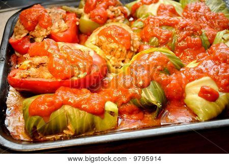 Stuffed Cabbage and Stuffed Pepprs