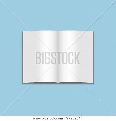 Vector Mockup of blank open Magazine on blue Background
