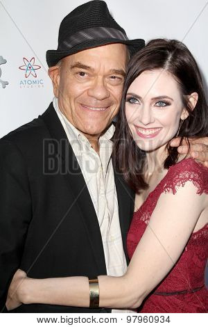 LOS ANGELES, CA - AUGUST 1: Robert Picardo and Adrienne Wilkinson arrive at the premiere of Star Trek: Renegades at the Crest Theatre on August 1, 2015 in Los Angeles, CA.
