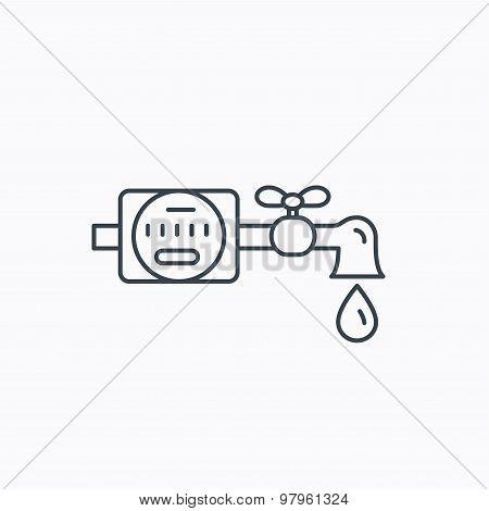 Water counter icon. Pipe with drop sign.