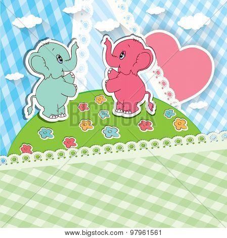 Cartoon elephants with gift. Vector illustraion.