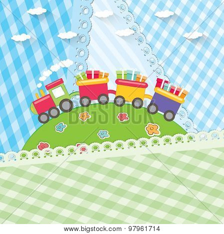 Toy colorful train. Cartoon vector illustration.