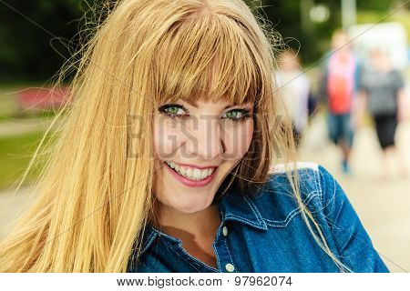 Girl Enjoying Summer Breeze By Seaside