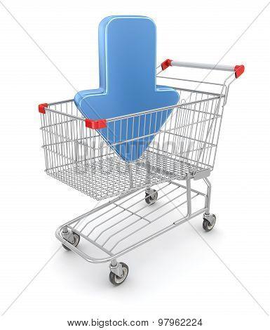 Blue Arrow In Shopping Cart