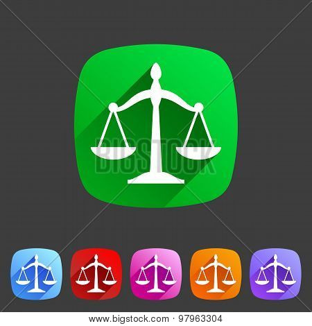 Law balance icon flat web sign symbol logo label