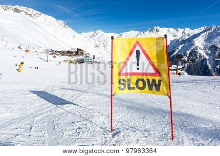 Yellow Slow Down Warning Sign