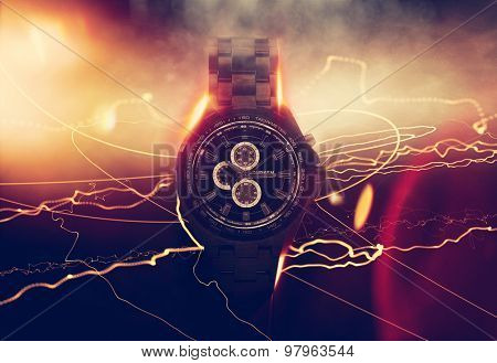 Luxury Design Black Wristwatch Chronograph Lit Dramatically from Side on Dark Background with Glowing Effect, Lens Flares and Light Rays. 3d Rendering.
