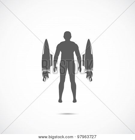 Human with jet engines