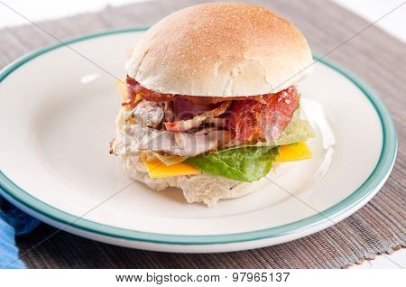 Clubhouse Sandwich On A Burger Bun