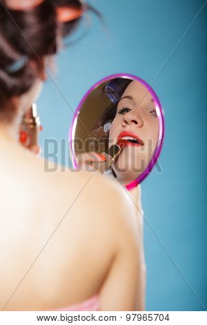 Girl Applying Make Up Red Lipstick
