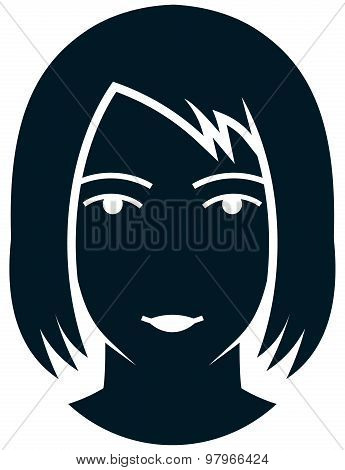 Vector Woman With Long Hair Illustration