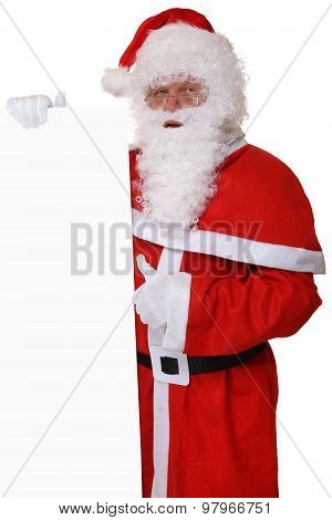 Santa Claus Thumbs Up On Christmas Holding Empty Banner With Copyspace