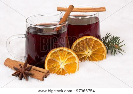 Mulled Wine On Christmas In Winter Alcohol Drink In Snow