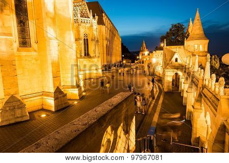 Budapest, Hungary - June 06, 2015: night view on the old fishermen Bastion in Budapest