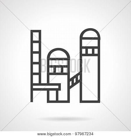 Brickworks plant line vector icon