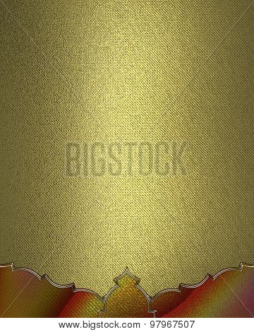 Gold Texture With Ornament. Element For Design. Template For Design. Copy Space For Ad Brochure Or A