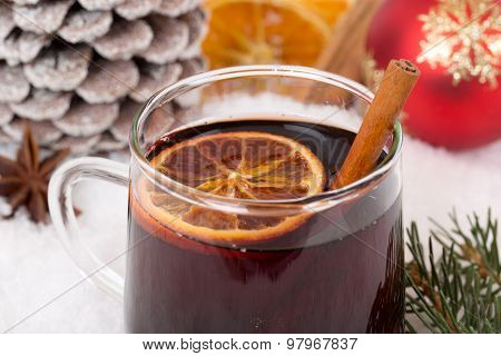 Closeup Mulled Wine On Christmas In Winter Alcohol Drink With Snow
