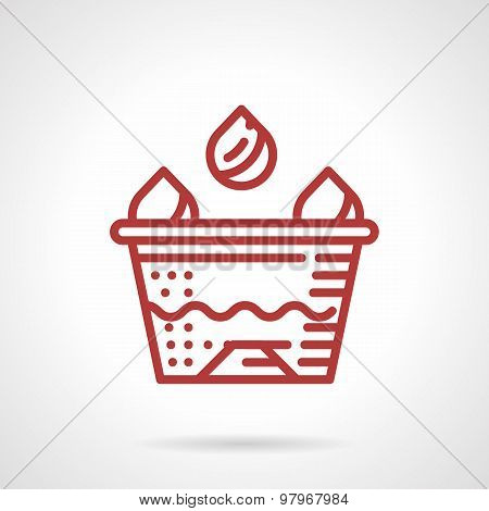 Tattoo ink cup red line vector icon