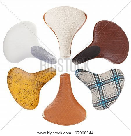 Vintage bicycle saddles collection