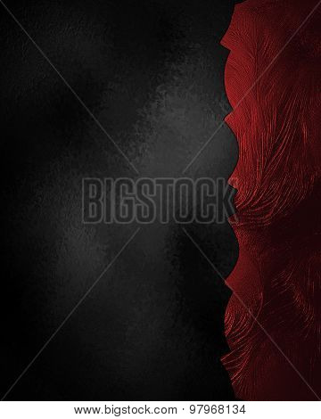 Abstract Black Background With Red Edge. Element For Design. Template For Design. Copy Space For Ad